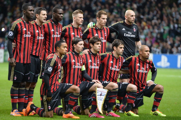 GLASGOW, SCOTLAND - NOVEMBER 26:  A team group of AC Milan during the UEFA Champions League Group H match between Celtic and AC Milan at Celtic Park Stadium on November 26, 2013 in Glasgow, Scotland.  (Photo by Jeff J Mitchell/Getty Images)