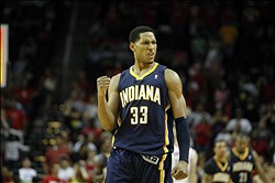 Apr 1, 2012; Houston, TX, USA; Indiana Pacers forward Danny Granger (33) shows emotion after a victory against the Houston Rockets in overtime at the Toyota Center. The Pacers defeated the Rockets 104-102 in overtime. Mandatory Credit: Brett Davis-USA TODAY Sports