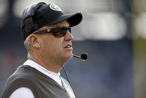 EAST RUTHERFORD, NJ - DECEMBER 1:   Head coach Rex Ryan of the New York Jets walks the sidelines during their game against the Miami Dolphins at MetLife Stadium on December 1, 2013 in East Rutherford, New Jersey.  (Photo by Jeff Zelevansky/Getty Images)
