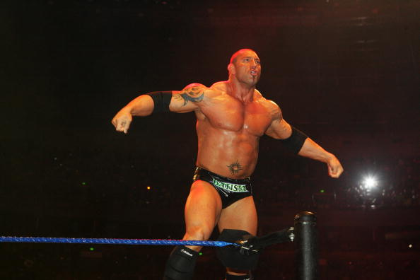 SYDNEY, AUSTRALIA - JUNE 15:  Batista poses in the ring during WWE Smackdown at Acer Arena on June 15, 2008 in Sydney, Australia.  (Photo by Gaye Gerard/Getty Images)