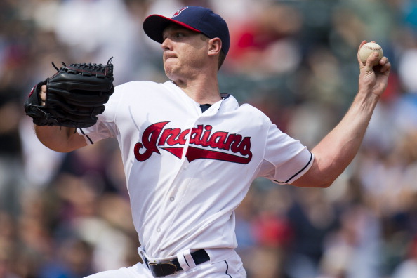 CLEVELAND, OH - SEPTEMBER 11: Starting pitcher Scott Kazmir #26 of the Cleveland Indians pitches during the second inning against the Kansas City Royals at Progressive Field on September 11, 2013 in Cleveland, Ohio. (Photo by Jason Miller/Getty Images)