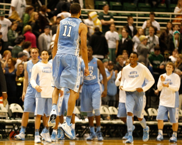 EAST LANSING, MI - DECEMBER 04:  Brice Johnson #11 of the North Carolina Tar Heels reacts, as teammates look on, to beating the Michigan State Spartans 79-65 at the Jack T. Breslin Student Events Center on December 4, 2013 in East Lansing, Michigan. (Photo by Gregory Shamus/Getty Images)