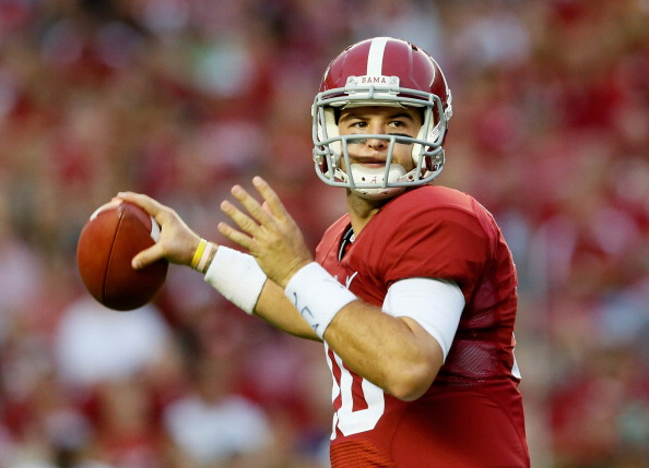 TUSCALOOSA, AL - SEPTEMBER 21:  AJ McCarron #10 of the Alabama Crimson Tide looks to pass against the Colorado State Rams at Bryant-Denny Stadium on September 21, 2013 in Tuscaloosa, Alabama.  (Photo by Kevin C. Cox/Getty Images)