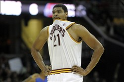 Dec 23, 2013; Cleveland, OH, USA; Cleveland Cavaliers center Andrew Bynum reacts in the second quarter against the Detroit Pistons at Quicken Loans Arena. Mandatory Credit: David Richard-USA TODAY Sports