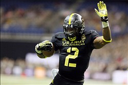 Jan 5, 2013; San Antonio, TX, USA; East running back Derrick Henry (2) runs for a touchdown against the West during U.S. Army All-American Bowl high school football game at the Alamodome. The East won 15-8. Mandatory Credit: Soobum Im-USA TODAY Sports