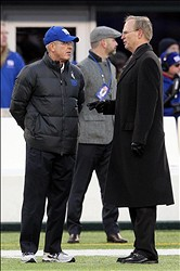 Nov 24, 2013; East Rutherford, NJ, USA; New York Giants head coach Tom Coughlin (left) talks to Giants president , CEO and co-owner John Mara before the start of a game against the Dallas Cowboys at MetLife Stadium. Mandatory Credit: Brad Penner-USA TODAY Sports