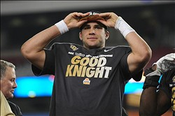 Jan 1, 2014; Glendale, AZ, USA; UCF Knights quarterback Blake Bortles (5) celebrates after beating Baylor Bears 49-35 in the Fiesta Bowl at University of Phoenix Stadium. Mandatory Credit: Matt Kartozian-USA TODAY Sports