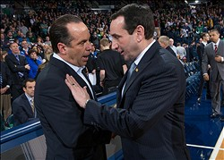 Jan 4, 2014; South Bend, IN, USA; Notre Dame Fighting Irish head coach Mike Brey and Duke Blue Devils head coach Mike Krzyzewski chat before the game at the Purcell Pavilion. Notre Dame won 79-77. Mandatory Credit: Matt Cashore-USA TODAY Sports