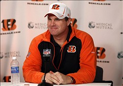 Apr 27, 2012; Cincinnati, OH, USA; Cincinnati Bengals offensive coordinator Jay Gruden speaks during the press conference at Paul Brown Stadium. Mandatory Credit: Frank Victores-USA TODAY Sports
