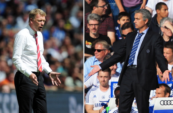 (FILE PHOTO - EDITORS NOTE:  COMPOSITE OF TWO IMAGES - Image Numbers 175984906 (L) and 176743320)  In this composite image a comparison has been made between David Moyes, Manager of Manchester United (L) and Jose Mourinho, Manager of Chelsea.  Premiership title favorites Manchester United and Chelsea meet at Old Trafford, Manchester on August 26, 2013.   *** LEFT IMAGE*** LONDON, ENGLAND - AUGUST 11: Manchester United manager David Moyes issues instructions during of the FA Community Shield match between Manchester United and Wigan Athletic at Wembley Stadium on August 11, 2013 in London, England. (Photo by Jamie McDonald/Getty Images)   ***RIGHT IMAGE***  LONDON, ENGLAND - AUGUST 18: Chelsea manager Jose Mourinho gestures during the Barclays Premier League match between Chelsea and Hull City at Stamford Bridge on August 18, 2013 in London, England. (Photo by Richard Heathcote/Getty Images)