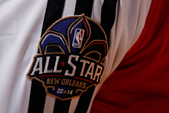 NEW ORLEANS, LA - OCTOBER 30:  A view of the All-Star patch on the warm up uniforms of the New Orleans Pelicans at the New Orleans Arena on October 30, 2013 in New Orleans, Louisiana.  NOTE TO USER: User expressly acknowledges and agrees that, by downloading and/or using this photograph, user is consenting to the terms and conditions of the Getty Images License Agreement.  (Photo by Chris Graythen/Getty Images)