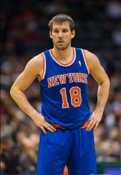 Dec 18, 2013; Milwaukee, WI, USA; New York Knicks guard Beno Udrih (18) during the game against the Milwaukee Bucks at BMO Harris Bradley Center.  New York won 107-101 in double overtime.  Mandatory Credit: Jeff Hanisch-USA TODAY Sports