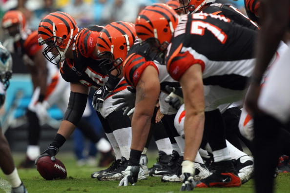 CHARLOTTE, NC - SEPTEMBER 26:  The offensive line of the Cincinnati Bengals against the Carolina Panthers during their game at Bank of America Stadium on September 26, 2010 in Charlotte, North Carolina.  (Photo by Streeter Lecka/Getty Images)