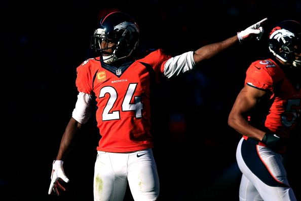 DENVER, CO - JANUARY 19:  Champ Bailey #24 of the Denver Broncos reacts after a play against the New England Patriots during the AFC Championship game at Sports Authority Field at Mile High on January 19, 2014 in Denver, Colorado.  (Photo by Jamie Squire/Getty Images)