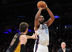 January 31, 2014; Los Angeles, CA, USA; Charlotte Bobcats center Al Jefferson (25) shoots a basket against the defense of Los Angeles Lakers center Pau Gasol (16) during the first half at Staples Center. Mandatory Credit: Gary A. Vasquez-USA TODAY Sports