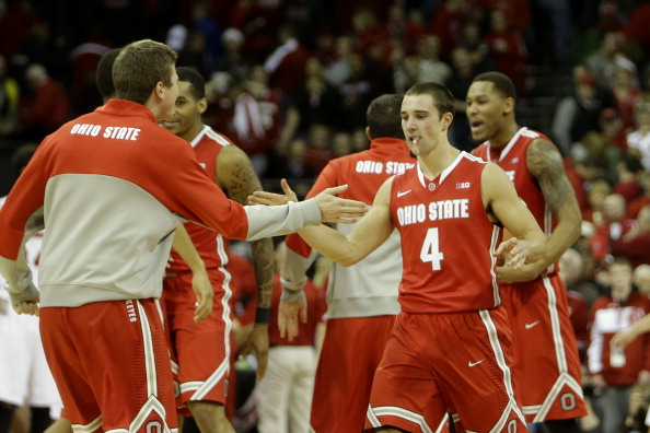 MADISON, WI - FEBRUARY 01: Aaron Craft #4 of the Ohio State Buckeyes celebrates after the win over the Wisconsin Badgers at Kohl Center on February 01, 2014 in Madison, Wisconsin. (Photo by Mike McGinnis/Getty Images)