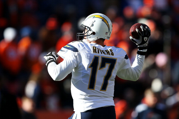 DENVER, CO - JANUARY 12:  Quarterback Philip Rivers #17 of the San Diego Chargers warms up prior to their AFC Divisional Playoff Game against the Denver Broncos at Sports Authority Field at Mile High on January 12, 2014 in Denver, Colorado.  (Photo by Christian Petersen/Getty Images)