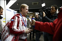 Feb 3, 2014; Sochi, RUS;  Russian figure skater Evgeni Plushenko arrives at the Sochi airport as he is greeted by media for interviews. Mandatory Credit: Rob Schumacher-USA TODAY Sports