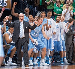 Feb 8, 2014; South Bend, IN, USA; North Carolina Tar Heels head coach Roy Williams and the North Carolina bench react in the first half against the Notre Dame Fighting Irish at the Purcell Pavilion. Mandatory Credit: Matt Cashore-USA TODAY Sports
