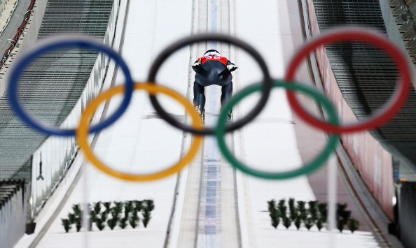 SOCHI, RUSSIA - FEBRUARY 12: Jarkko Maeaettae of Finland jumps during Men's Large Hill Ski Jumping Official Training at RusSki Ski Jumping Centre on day five of the Sochi 2014 Winter Olympics on February 12, 2014 in Sochi, Russia.  (Photo by Ryan Pierse/Getty Images)