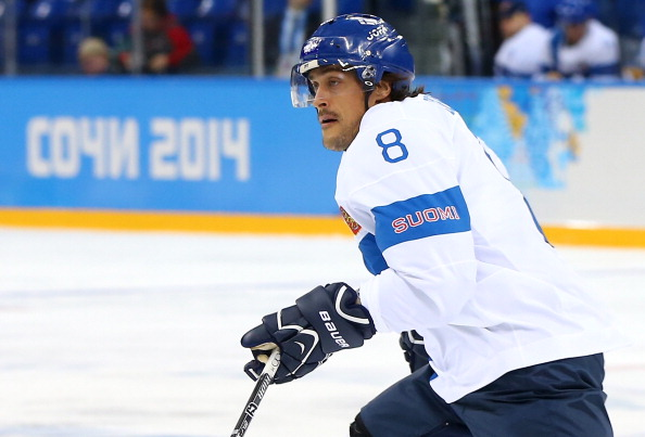 SOCHI, RUSSIA - FEBRUARY 14: Teemu Selanne #8 of Finland skates in the first period against Norway during the Men's Ice Hockey Preliminary Round Group B game on day seven of the Sochi 2014 Winter Olympics at Shayba Arena on February 14, 2014 in Sochi, Russia.  (Photo by Martin Rose/Getty Images)