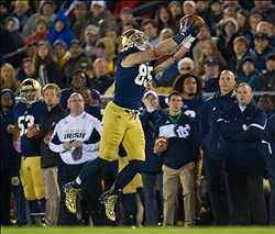 Oct 19, 2013; South Bend, IN, USA; Notre Dame Fighting Irish tight end Troy Niklas (85) catches a pass in the second quarter against the USC Trojans at Notre Dame Stadium. Mandatory Credit: Matt Cashore-USA TODAY Sport