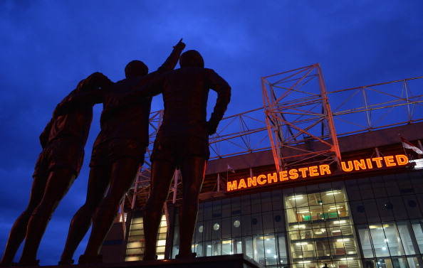 MANCHESTER, ENGLAND - JANUARY 28:  General View of the statues of Denis Law, George Best and Bobby Charlton prior to the Barclays Premier League match between Manchester United and Cardiff City at Old Trafford on January 28, 2014 in Manchester, England.  (Photo by Michael Regan/Getty Images)