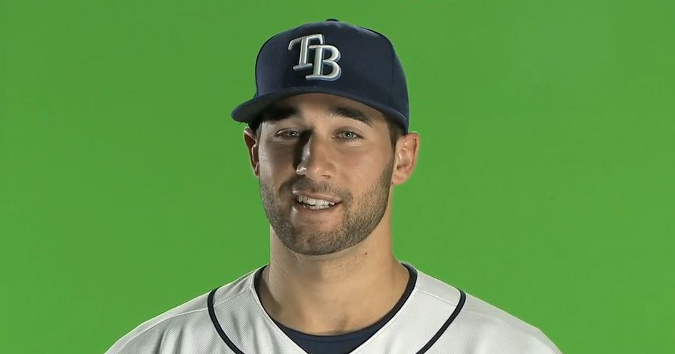 Tampa Bay Rays outfielder Kevin Kiermaier talks with reporters in the dugout before the AL wild-card baseball game against the Cleveland Indians Wednesday, Oct. 2, 2013, in Cleveland. (AP Photo/Phil Long)