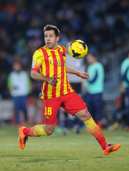 GETAFE, SPAIN - DECEMBER 22:  Jordi Alba of FC Barcelona in action during the La Liga match between Getafe CF and FC Barcelona at Coliseum Alfonso Perez on December 22, 2013 in Getafe, Spain.  (Photo by Denis Doyle/Getty Images)