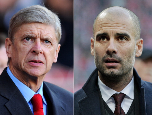 FILE PHOTO - EDITORS NOTE: COMPOSITE OF TWO IMAGES - Image Numbers 452603077 (L) and 452615683) In this composite image a comparison has been made between Arsene Wenger the Arsenal manager (L) and Head coach Josep Guardiola of Bayern Munich. Arsenal and Bayern Munich meet in the UEFA Champions League Round of 16 match 1st leg on February 19,2014 with the 2nd leg on March 11 ,2014.  ***LEFT IMAGE*** CARDIFF, WALES - NOVEMBER 30: Arsene Wenger manager of Arsenal looks on prior to the Barclays Premier League match between Cardiff City and Arsenal at Cardiff City Stadium on November 30, 2013 in Cardiff, Wales. (Photo by Mike Hewitt/Getty Images)  ***RIGHT IMAGE*** MUNICH, GERMANY - NOVEMBER 30: Josep Guardiola of Bayern comes onto the pitch before the Bundesliga match between Bayern Muenchen and Eintracht Braunschweig at Allianz Arena on November 30, 2013 in Munich, Germany. (Photo by Adam Pretty/Bongarts/Getty Images)