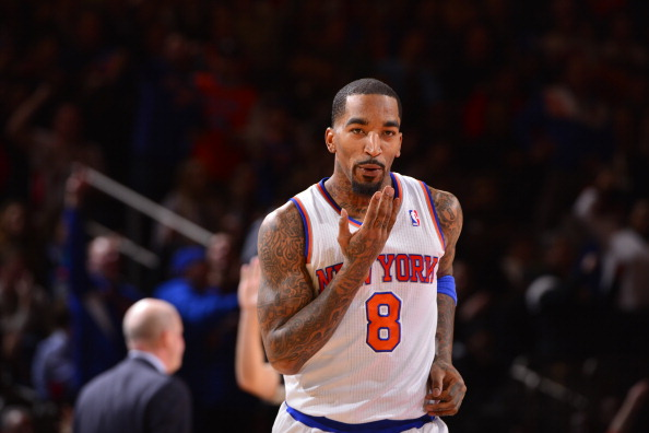 NEW YORK - JANUARY 24: J.R. Smith #8 of the New York Knicks celebrates during the game against the Charlotte Bobcats on January 24, 2014 at Madison Square Garden in New York City. NOTE TO USER: User expressly acknowledges and agrees that, by downloading and or using this photograph, User is consenting to the terms and conditions of the Getty Images License Agreement. Mandatory Copyright Notice: Copyright 2014 NBAE  (Photo by David Dow NBAE via Getty Images)