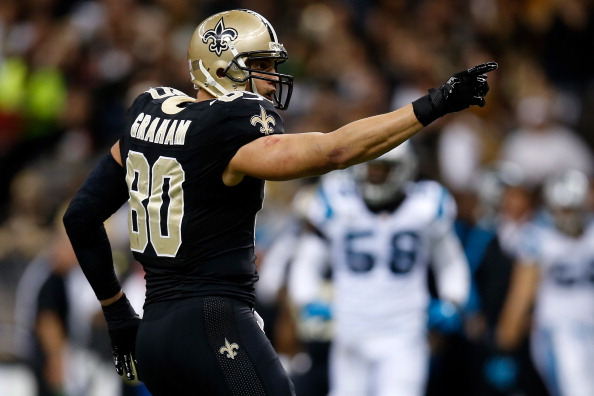 NEW ORLEANS, LA - DECEMBER 08:  Jimmy Graham #80 of the New Orleans Saints reacts after catching a pass against the Carolina Panthers at Mercedes-Benz Superdome on December 8, 2013 in New Orleans, Louisiana.  (Photo by Chris Graythen/Getty Images)