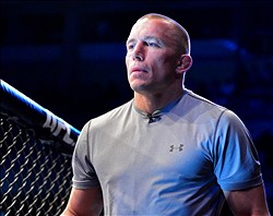 Feb 15, 2014; Jaragua do Sul, SC, Brazil; Georges St-Pierre before a fight between Ronaldo Souza (red gloves) and Francis Carmont (blue gloves) during UFC Fight Night Machida vs Mousasi at Arena Jaragua. Mandatory Credit: Jason Silva-USA TODAY Sports