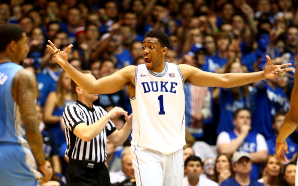 DURHAM, NC - MARCH 08:  Jabari Parker #1 of the Duke Blue Devils reacts after a play during their game against the North Carolina Tar Heels at Cameron Indoor Stadium on March 8, 2014 in Durham, North Carolina.  (Photo by Streeter Lecka/Getty Images)
