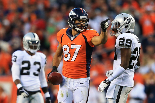 DENVER, CO - SEPTEMBER 23:   Eric Decker #87 of the Denver Broncos celebrates a first down pass reception in the first quarter against the Oakland Raiders at Sports Authority Field at Mile High on September 23, 2013 in Denver, Colorado.  (Photo by Doug Pensinger/Getty Images)