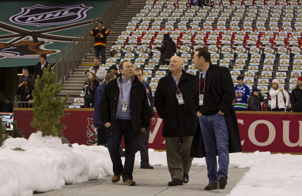 VANCOUVER, BC - MARCH 2: (L-R) Gary Bettman, Commissioner of the NHL, Bill Daly, Deputy Commissioner and John Collins, NHL COO prior to the 2014 Tim Hortons Heritage Classic game between the Ottawa Senators and the Vancouver Canucks at BC Place on March 2, 2014 in Vancouver, B.C., Canada.  (Photo by Kevin Light/NHLI via Getty Images)