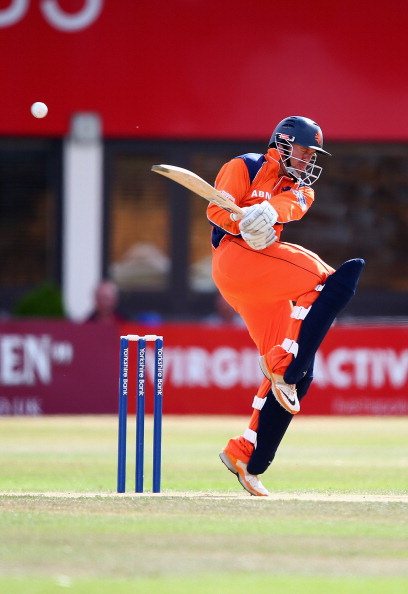 NORTHAMPTON, ENGLAND - AUGUST 15:  Stephan Myburgh of the Netherlands in action batting during the Yorkshire Bank 40 match between Northamptonshire and Holland at The County Ground on August 15, 2013 in Northampton, England.  (Photo by Clive Mason/Getty Images)