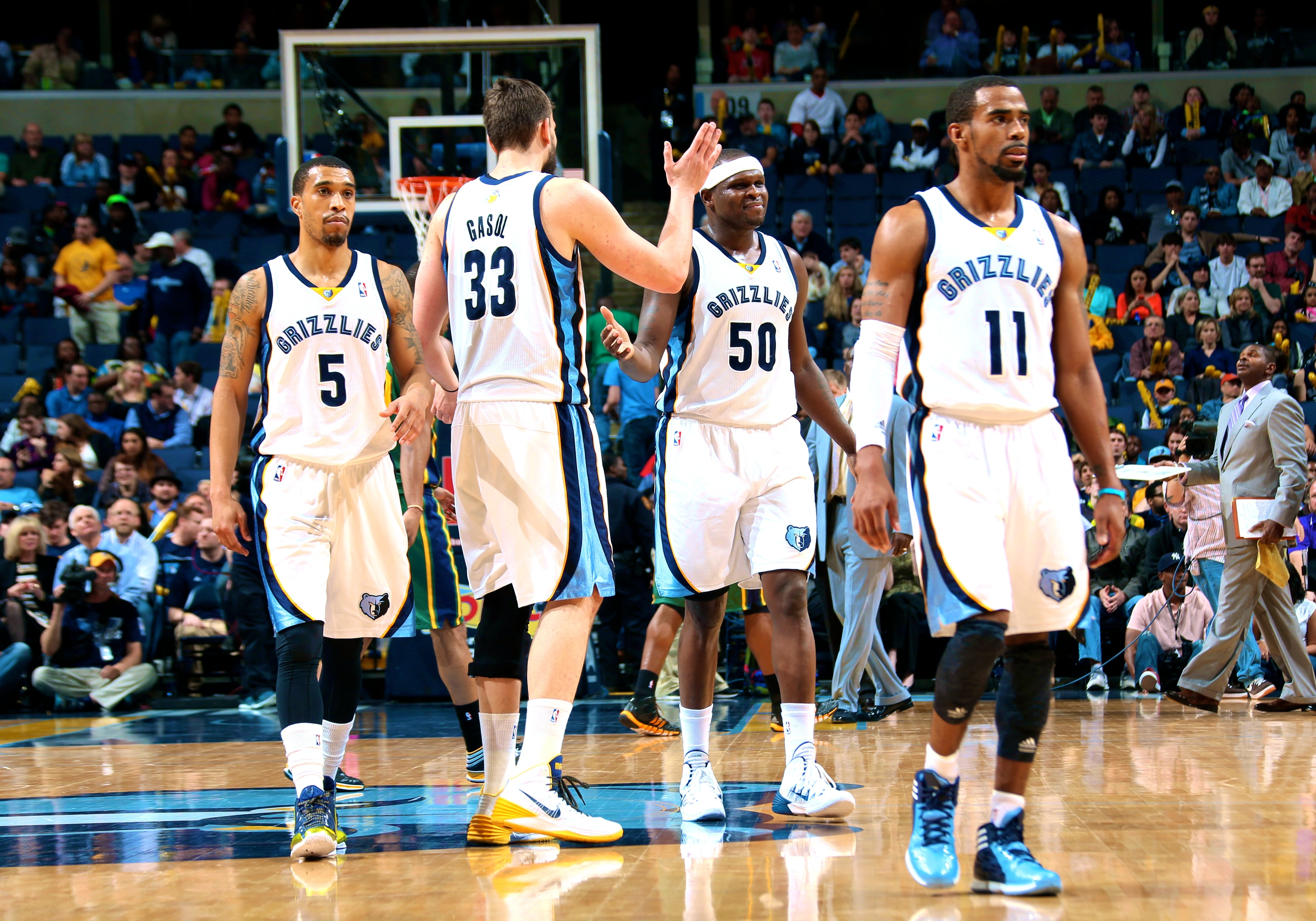 MEMPHIS, TN - MARCH 19: The Memphis Grizzlies celebrate during a game against the Utah Jazz on March 19, 2014 at FedExForum in Memphis, Tennessee. NOTE TO USER: User expressly acknowledges and agrees that, by downloading and or using this photograph, User is consenting to the terms and conditions of the Getty Images License Agreement. Mandatory Copyright Notice: Copyright 2014 NBAE (Photo by Joe Murphy/NBAE via Getty Images)