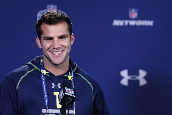 INDIANAPOLIS, IN - FEBRUARY 21: Former Central Florida quarterback Blake Bortles speaks to the media during the 2014 NFL Combine at Lucas Oil Stadium on February 21, 2014 in Indianapolis, Indiana. (Photo by Joe Robbins/Getty Images)