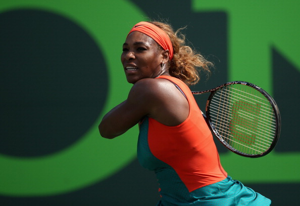 KEY BISCAYNE, FL - MARCH 24:  Serena Williams of the United States in action against Coco Vandeweghe of the United States during their fourth round match during day 8 at the Sony Open at Crandon Park Tennis Center on March 24, 2014 in Key Biscayne, Florida.  (Photo by Clive Brunskill/Getty Images)