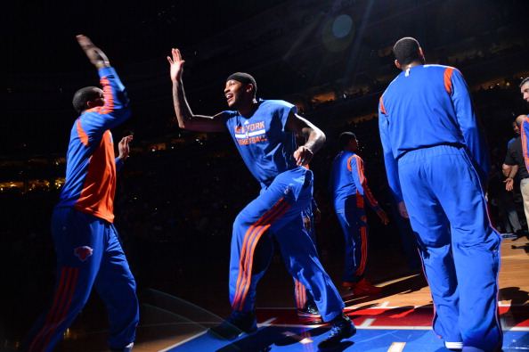 PHILADELPHIA, PA - MARCH 21: Carmelo Anthony #7 of the New York Knicks gets introduced before a game against the Philadelphia 76ers at the Wells Fargo Center on March 21, 2014 in Philadelphia, Pennsylvania. NOTE TO USER: User expressly acknowledges and agrees that, by downloading and or using this photograph, User is consenting to the terms and conditions of the Getty Images License Agreement. Mandatory Copyright Notice: Copyright 2014 NBAE (Photo by Jesse D. Garrabrant/NBAE via Getty Images)