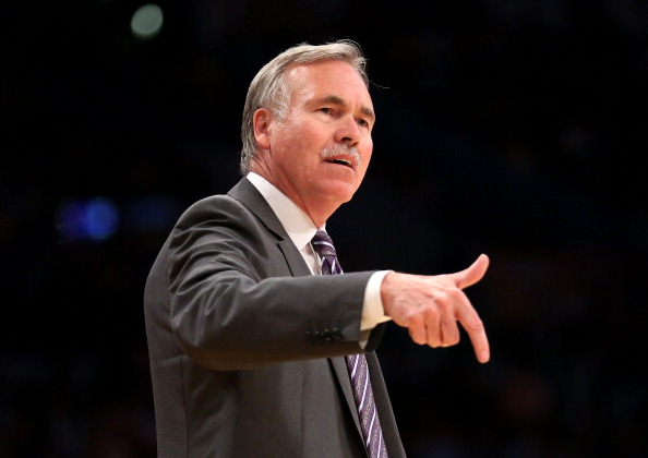 LOS ANGELES, CA - MARCH 30:  Head coach Mike D'Antoni of the Los Angeles Lakers gestures during the game with the Phoenix Suns at Staples Center on March 30, 2014 in Los Angeles, California.  NOTE TO USER: User expressly acknowledges and agrees that, by downloading and or using this photograph, User is consenting to the terms and conditions of the Getty Images License Agreement.  (Photo by Stephen Dunn/Getty Images)