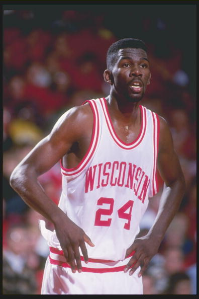 13 Mar 1993: Forward Michael Finley of the Wisconsin Badgers looks on during a game against the Indiana Hoosiers in Madison, Wisconsin.