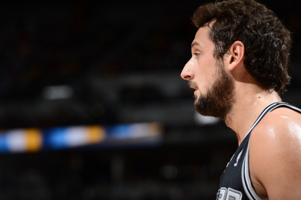 DENVER, CO - MARCH 28:   A close up shot of Marco Belinelli #3 of the San Antonio Spurs during the game against the Denver Nuggets on March 28, 2014 at the Pepsi Center in Denver, Colorado. NOTE TO USER: User expressly acknowledges and agrees that, by downloading and/or using this Photograph, user is consenting to the terms and conditions of the Getty Images License Agreement. Mandatory Copyright Notice: Copyright 2014 NBAE (Photo by Garrett W. Ellwood/NBAE via Getty Images)