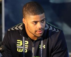 Feb 22, 2014; Indianapolis, IN, USA; Indiana Hoosiers wide receiver Cody Latimer speaks at the NFL Combine at Lucas Oil Stadium. Mandatory Credit: Pat Lovell-USA TODAY Sports