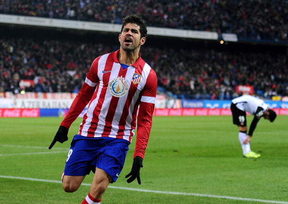 MADRID, SPAIN - DECEMBER 15:  Diego Costa of Club Atletico de Madrid celebrates after scoring Atletico's opening goal during the La Liga match between Club Atletico de Madrid and Valencia CF at Vicente Calderon Stadium on December 15, 2013 in Madrid, Spain.  (Photo by Denis Doyle/Getty Images)