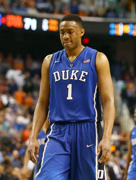 GREENSBORO, NC - MARCH 16:  Jabari Parker #1 of the Duke Blue Devils reacts during their final minutes of their loss to the Virginia Cavaliers in the finals of the 2014 Men's ACC Basketball Tournament at Greensboro Coliseum on March 16, 2014 in Greensboro, North Carolina.  (Photo by Streeter Lecka/Getty Images)