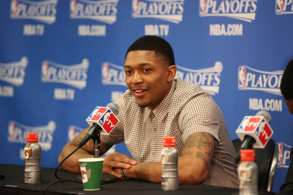 CHICAGO, IL - APRIL 22: Bradley Beal #3 of the Washington Wizards addresses the media following Game 2 of the Eastern Conference Quarterfinals against the Chicago Bulls on April 22, 2014 at the United Center in Chicago, Illinois. NOTE TO USER: User expressly acknowledges and agrees that, by downloading and/or using this photograph, user is consenting to the terms and conditions of the Getty Images License Agreement.  Mandatory Copyright Notice: Copyright 2014 NBAE (Photo by Gary Dineen/NBAE via Getty Images)