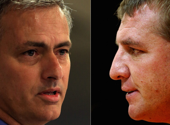 FILE PHOTO - EDITORS NOTE: COMPOSITE OF TWO IMAGES - Image Numbers 170285666 (L) and 153306519) In this composite image a comparison has been made between Chelsea manager Jose Mourinho (L) and Brendan Rodgers ,manager of Liverpool. The top two teams in the Premier League meet in a league match on April 27, 2014 at Anfield in Liverpool,England. ***LEFT IMAGE*** LONDON, ENGLAND - JUNE 10: New Chelsea manager Jose Mourinho talks to the media during the Chealsea FC press conference at Stamford Bridge on June 10, 2013 in London, England. Mourinho is returning to Chelsea for a second spell in charge of the West London Premier League team. (Photo by Richard Heathcote/Getty Images) ***RIGHT IMAGE*** LIVERPOOL, ENGLAND - OCTOBER 03: Liverpool manager Brendan Rodgers answers questions during a press conference ahead of their UEFA Europa League match against Udinese Calcio at Anfield on October 3, 2012 in Liverpool, England. (Photo by Clive Brunskill/Getty Images)