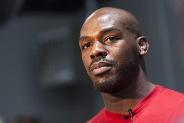 ALBUQUERQUE, NM - APRIL 2: UFC lightweight champion Jon 'Bones' Jones interacts with media during an open training session for fans and media at the Jackson's Mixed Martial Arts and Fitness on April 2, 2014 in Albuquerque, New Mexico. (Photo by Aaron Sweet/Getty Images)